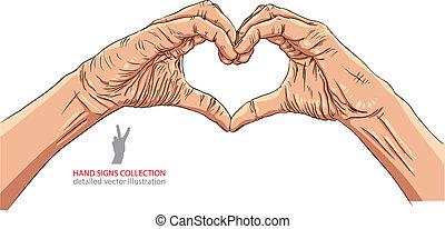 Hands in heart form, detailed vector illustration.