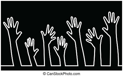 hands in line vector,