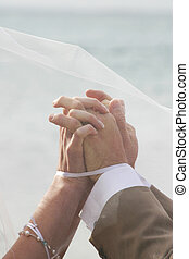 Hands in marriage - Veil floats in the breeze as couple join...