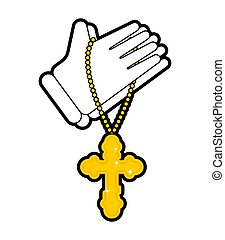 Hands in prayer and cross isolated. Prayer Religion vector texture