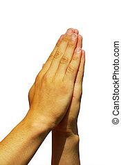 hands in prayer gesture on white