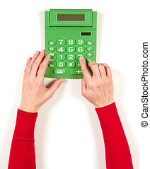 Hands in red jacket and green calculator