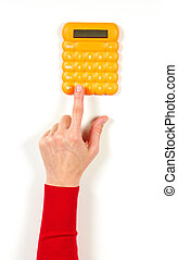 Hands in red jacket and yellow calculator