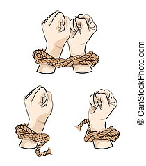 Hands in rope illustration - Hands in rope, tied up hand, ...