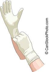 Hands in sterile gloves. Vector illustration.