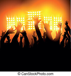 Hands in The Air - fans at a concert. Vector illustration