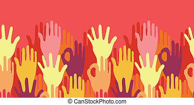 Hands in the crowd horizontal seamless pattern border