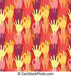 Hands in the crowd seamless pattern background