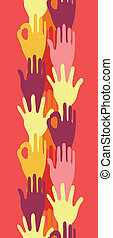 Hands in the crowd vertical seamless pattern border
