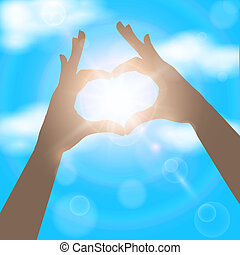 Hands in the form of heart on the background of blue sunny sky. Love concept vector illustration