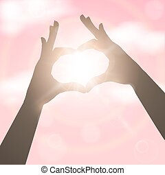 Hands in the form of heart over pink sky.. Concept vector illust
