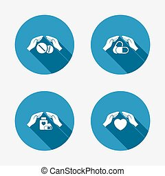Hands insurance icons. Health medical insurance symbols. Pills drugs and tablets bottle signs. Circle concept web buttons. Vector
