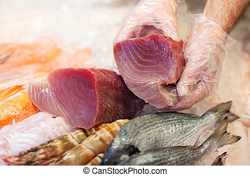 Hands Keeping Slice Of Fish For Preservation - Male worker's...