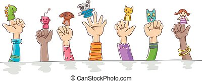 Border Illustration of Kids Wearing Finger Puppets of Cuddly Pets and Robots
