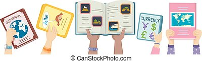 Hands Kids Geography Books Up Illustration