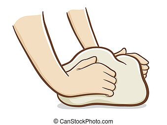 Vector illustration of hands kneading dough