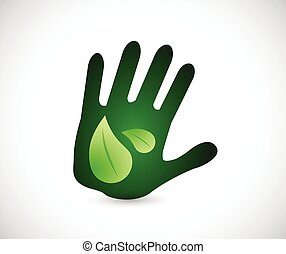 hands leaves illustration design
