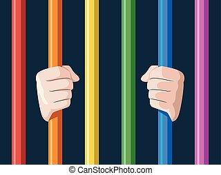 Hands Lgbt Rainbow Bars Illustration