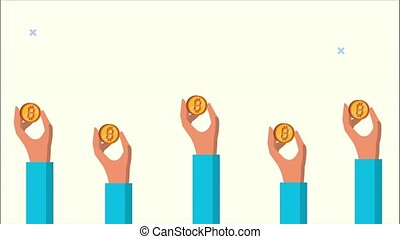 hands lifting bitcoins blockchain animation,4k video animated