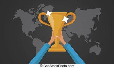 hands lifting trophy award  illustration design