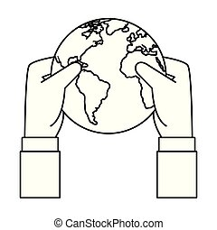 hands lifting world planet earth