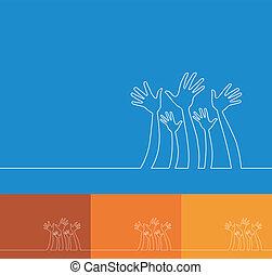 hands., linea, illustrazione, semplice