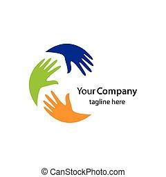 Hands logo team illustration