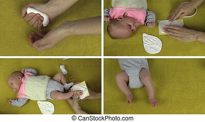 Mother hands making small newborn baby footprint footmark palm mark on special material. Montage of video clips collage. Split screen. White angular frame. 4K UHD 2160p