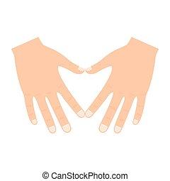 Hands make heart shape icon
