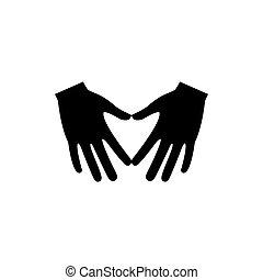 Hands make heart shape icon.