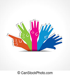 Hands make number one to five with copy-space stock vector