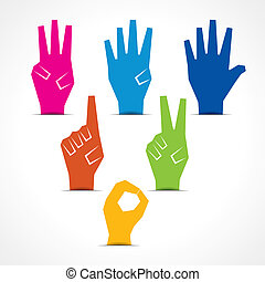 Hands make number zero to five - Vector hands make number...