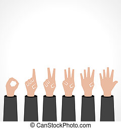Hands make number zero to five with copy-space stock vector