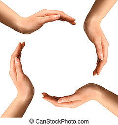 Hands Making a Circle - Conceptual symbol of four human...