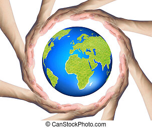 hands making a circle Surrounding the Earth