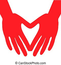 Hands making a heart symbol icon. Vector illustration