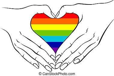 Hands making a rainbow heart shaped