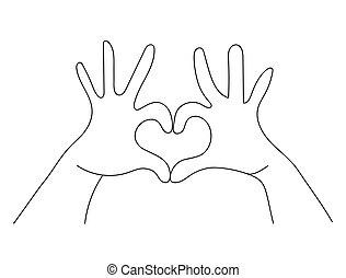 Hands making heart shape love sign concept
