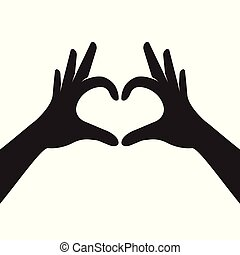 Hands making heart shape. Valentines day. Vector...