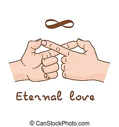 Hands making infinity symbol. Eternal love and friendship. Vector illustration