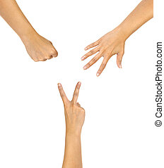 hands making sign as rock paper and scissors isolate on white.