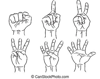 hands making the numbers - 0 to 5 - vector - the sign of...
