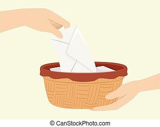 Hands Mass Collection Offering Basket Illustration - ...