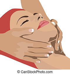 Hands massaging female face, spa - Hands massaging female...
