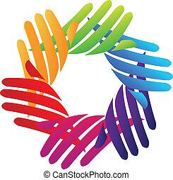 Hands network company logo vector