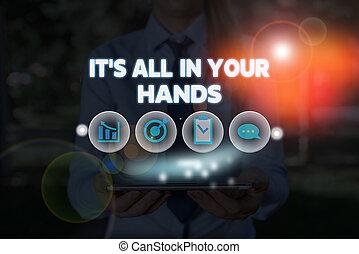hands., noi, showcasing, tutto, tuo, foto, presa, destino,...