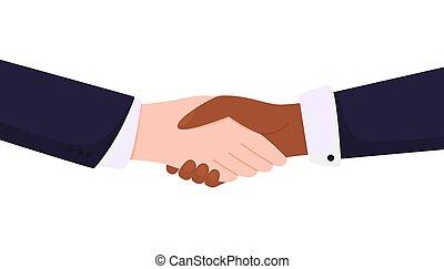 hands., non, noir, racism., blanc, poignée main