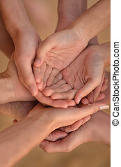 Hands of a family together - A lot of hands of a family...