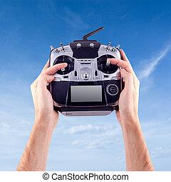 Remote radio control - Hands of a man with a radio control ...