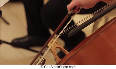 Hands of a musician playing on a contrabass, vintage, Double bass player Hands playing contrabass musical instrument